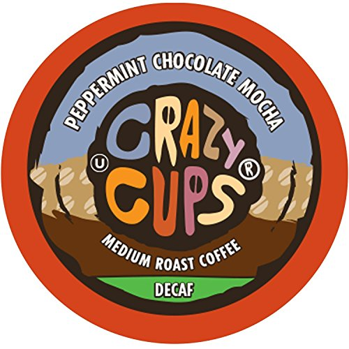 Crazy Cups Flavored Decaf Hot or Iced Coffee, for the Keurig K Cups 2.0 Brewers, Seasonal Peppermint Chocolate Mocha, 22 Count