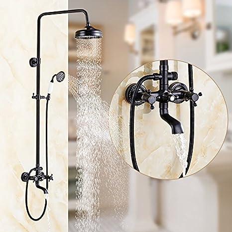GXR Baño de cobre negro ducha pared montado baño grifo de la ducha conjunto teleducha boquilla Turbo: Amazon.es: Hogar