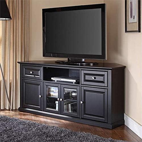 Pemberly Row 60 Corner TV Stand in Black