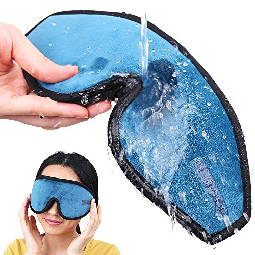 PeNeede 100% Blackout 3D Sleeping Eye Mask Contoured, Soft Memory Foam Molded Night Sleep Mask Eye Cover for Women/Men, Adjustable Comfort Blindfold Eye Shades for Nap/Migraine/Camping/Travel (Blue)