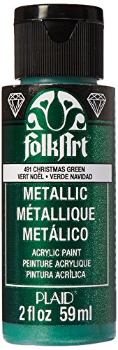 FolkArt Metallic Acrylic Paint in Assorted Colors (2 Ounce), 491 Christmas Green