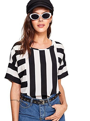 Romwe Womens Colorblock Mixed Stripe Patch Crossover Print Crop Tee Top