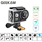 Digital Action Underwater Waterproof Sports Camera Cam Camcorders Wifi HD 1080P 30fps 12MP 170 Degree Wide Angle and Helmet Accessories Kit- Waterproof 100ft
