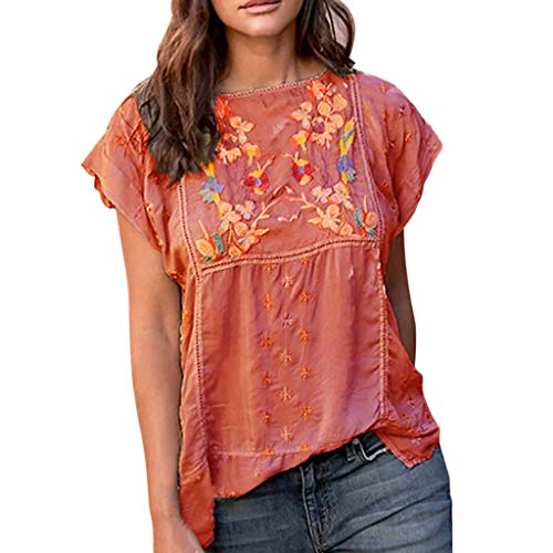(Sunhusing Women's Hand-Embroidered Flower Print Round Neck Hollow Hole Short-Sleeve T-Shirt Blouse Top)