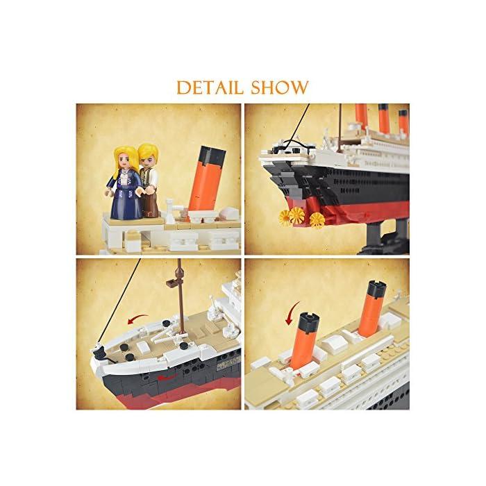 51q4 ezKTuL Kit de bloques de construcción Titanic, contiene 1021 bloques de piezas. Enorme conjunto! Construye un proyecto espectacular en casa, compatible con las principales marcas. La instrucción detallada del color, tiene un tiempo buidling feliz.