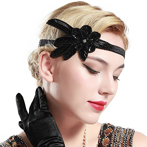 BABEYOND 1920s Flapper Headband Crystal Great Gatsby Headpiece Vintage 20s Flapper Gatsby Accessories (Style-4) Black