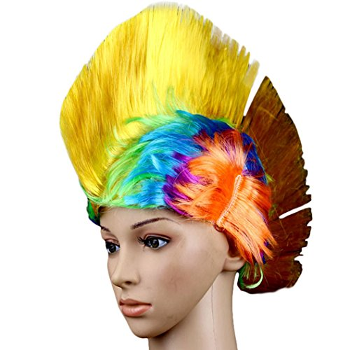 [DEESEE(TM) Hallowmas Masquerade Punk Mohawk Mohican hairstyle Cockscomb Hair Wig Cosplay wig] (Making Waves Sailor Costume)