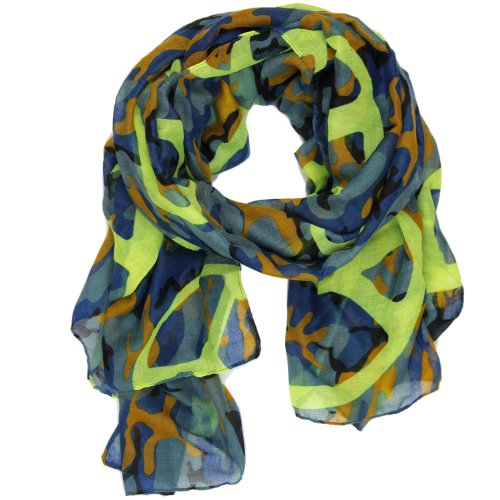 Bucasi Peace Sign and Camouflage print Scarf in Blue and Neon Green (Sign Camouflage Peace)
