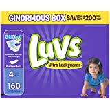 Luvs Ultra Leakguards Disposable Diapers Size 4, 160 Count, ONE MONTH SUPPLY