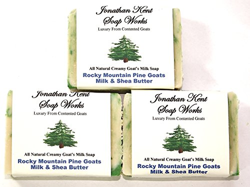 (Jonathan Kent Goats Milk Soap, Saturated with 100% Creamy Farm Fresh Goats Milk-Shea Butter, No Water, ROCKY MOUNTAIN PINE 3 BAR PACK. Fresh Pine Fragrance. Pine Forest. Luxurious and Invigorating )