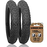 """2 x BUGABOO DONKEY Suitable Stroller / Push Chair REAR Tires to fit - 12 1/2"""" x 1.75 - 2 1/4 (Black) + + FREE Upgraded Skyscape Metal Valve Caps (Worth $4.99)"""