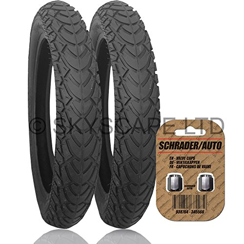 2 x QUINNY BUZZ 3 Suitable Stroller / Push Chair / Buggy FRONT Tyres to fit - 10' x 1.75 - 2.00 (Black) Super Grippy & Fast Rolling + FREE Shipping + FREE Upgraded Skyscape Metal Valve Caps (Worth £3.99)
