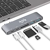 Thunderbolt 3 to USB Type C Hub Adapter - ikling Multiport Adapter for 2016/2017 MacBook pro 13/15, with 40Gbps TB 3, SD/TF Card Reader, 2 USB 3.0, USB C 3.1, Power Delivery Type C Charging Port