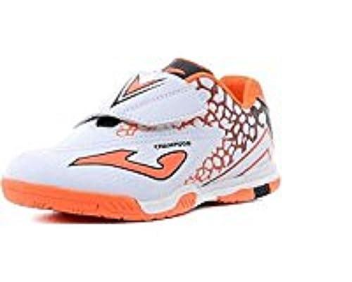 Joma - Zapatillas de fútbol Sala de Material Sintético para niño Blanco Bianco/Arancione Blanco Size: 35: Amazon.es: Zapatos y complementos