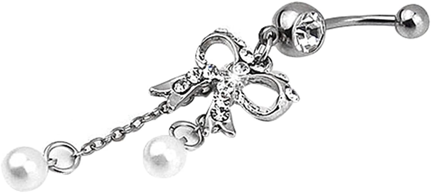 Gsdviyh36 Body Piercing Jewelry,Sexy Women Stainless Steel Dual Ball Barbell Navel Ring Perfect a Jewelry Gift Nose Ear Lip Belly Button Decor