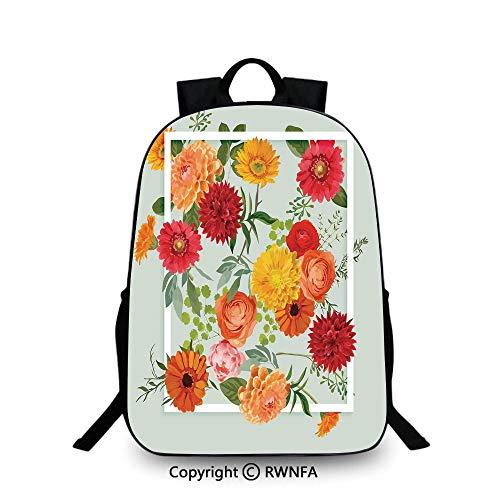 Kids Backpack Children Bookbag,Floral Flowers Leaves Buds Frame Art Print School Backpacks For boys Pale Green Dark Coral Mustard Peach Red ()