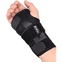 EXski Double Wrist Splints Cockup Hand Support Brace Night Sleep Breathable Wrap for Carpal Tunnel Tendonitis Sprains Right and Left Hand 1 Piece Removable