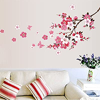 Money coming shop wholesale beautiful sakura wall stickers living bedroom decorations diy flowers pvc home decals mural arts poster