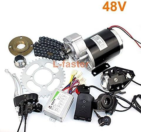 L-faster Kit Eléctrico de la Conversión del Triciclo de 24V36V48V 450W Kit Eléctrico del Carrito del Motor Eléctrico del Engranaje de Trike MY1020Z Motor Cepillado del Engranaje de 450W