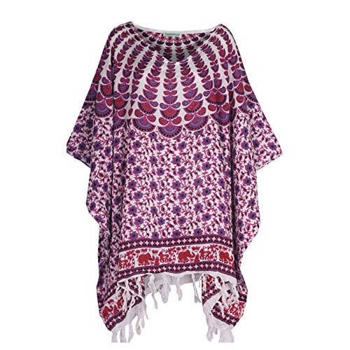 Tropicalsale Women's Purple White Striped Kaftan Tunic Top Big Plus Size