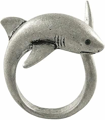 Enhanced Big Shark Adjustable Animal Wrap Ring Vintage Silver Tone