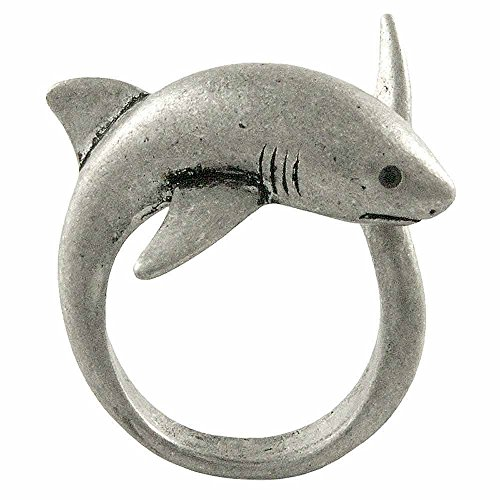 Ellenviva Enhanced Big Shark Adjustable Animal Wrap Ring Vintage Silver Tone -