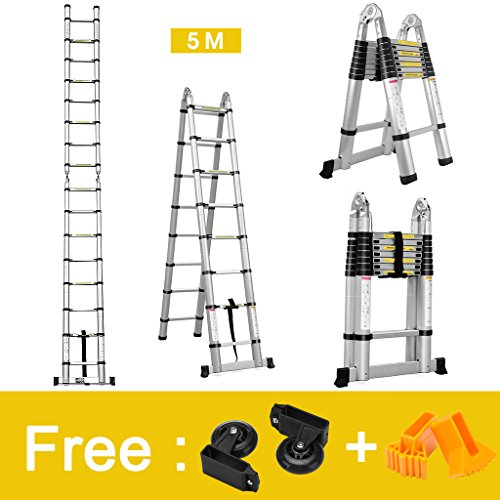Finether 16.4ft Aluminum Telescoping Extension Ladder Portable Multi-Purpose Folding A-Frame Ladder with Hinges, 150 kg Load Capacity for Home Loft Office,EN131 Certified Telescoping A-frame Ladder