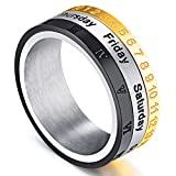 Men's Tri-Color Calendar Month Week Stylish Ring Roman Numerals Spin stainless steel Unique Fingerring