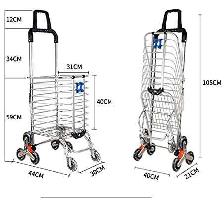 Amazon.com: DXG&FX Shopping cart Buy a vegetable cart Small cart Climb the floor Collapsible Hand carts Trolley Household Trolley car-A: Home & Kitchen