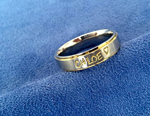 (Personalized Hand Stamped Ring~2 Tone~Gold Edged~Gold Trimmed~Silver and Gold~Comfort Fit Stainless Steel~Any Name or Names~Hand Engraved Name Ring)