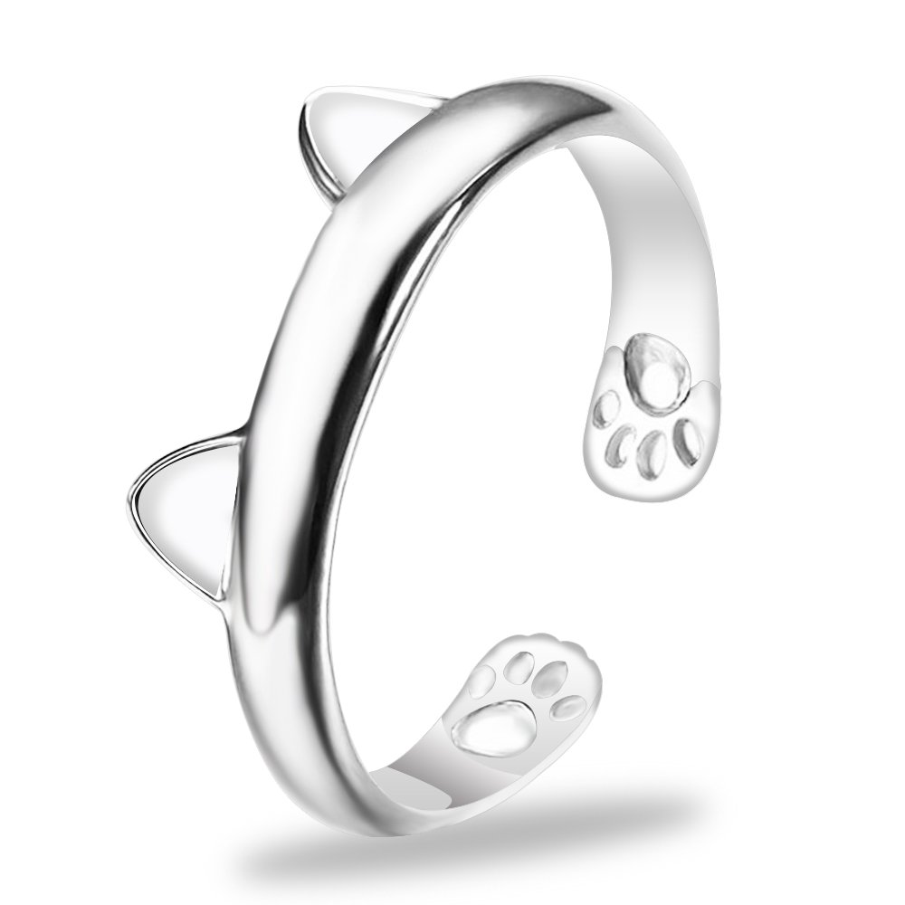 Cute Animals Club Sterling Silver Rings - Sterling Silver Rings for Women, Adjustable Rings for Women, Wrap Around Rings for Women Sterling Silver, Knuckle Rings for Women Sterling Silver