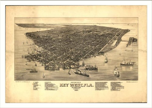 Historic Key West, Florida, c. 1884 L Panoramic Map Poster Print Reprint Gi