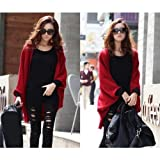 Keral Women's Batwing Cape Poncho Cardigan Sweater Red
