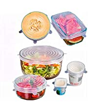 Silicone Stretch Lids Reusable Expandable - BPA Free Eco-Friendly, 6 Pack of Various Sizes, Food Covers use for Bowls, Containers, Jars Dishwasher/Microwave Safe Colour Blue or White Significantly Reducing Plastic Glad Wrap Use