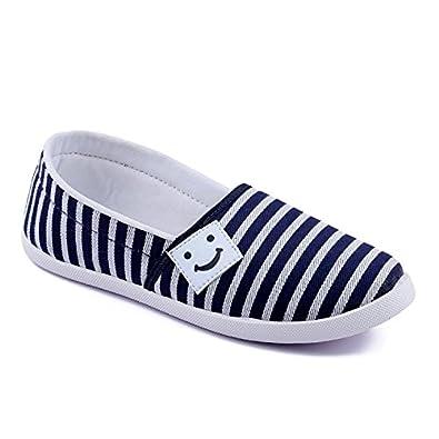 ASIAN Women's Blue White Canvas Shoes -5 UK