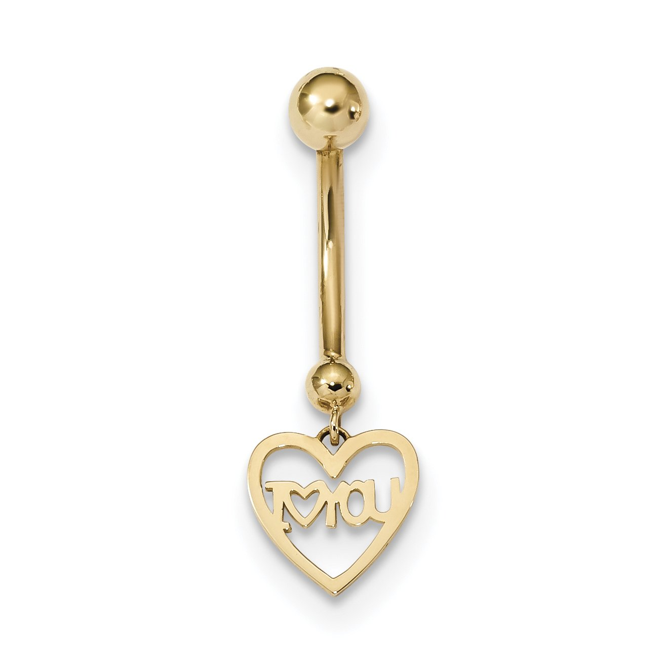 ICE CARATS 14k Yellow Gold I Heart You Belly Band Ring Body Naval Fine Jewelry Gift Set For Women Heart