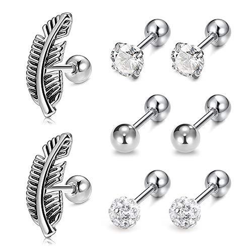 (Zolure 16 Gauge Helix Piercing Earrings Stud Cartilage Earrings Surgical Steel Earrings Piercing Jewellery Set Silver)