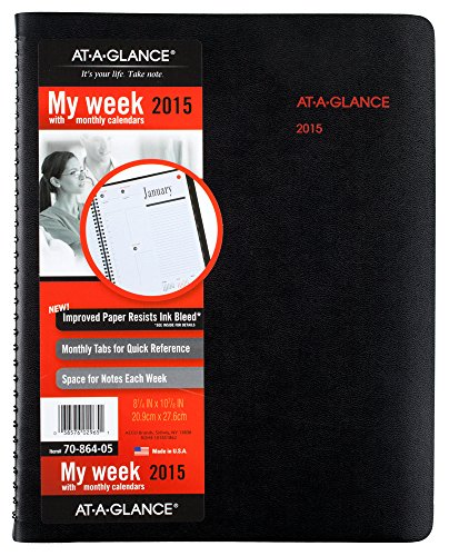 AT-A-GLANCE Weekly and Monthly Appointment Book 2015, 800 Range, 8.5 x 11 Inch Page Size (70-864-05)