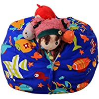 AmyDong Storage Box,Clearance Kids Stuffed Animal Plush Toy Storage Bean Bag Soft Pouch Stripe Fabric Chair Plush Toy Pouch Home Storage Bag (B)