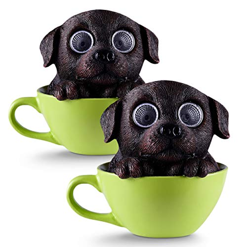 Dog in Cup Solar Garden Decorations Figurine | Outdoor LED Decor Figure | Light Up Decorative Statue Accents for Yard, Patio, Lawn, or Deck | Great Housewarming Gift Idea (Dark Brown, 2 Pack)
