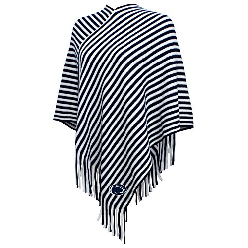NCAA Penn State Nittany Lions FeWomen's Campus Specialties Striped Team Poncho, Navy/White, One Size