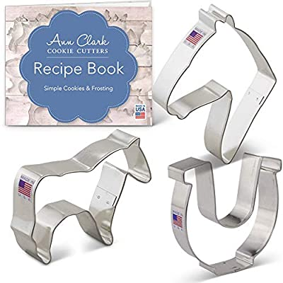 Horse Cookie Cutter Set with Recipe Booklet - 3 piece -Horse, Horse Head, Horseshoe - Ann Clark - USA Made Steel
