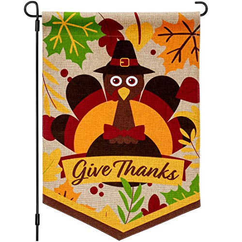 Thanksgiving Garden Flag Decorations - 18x12 Inch Burlap Turkey Outdoor Design