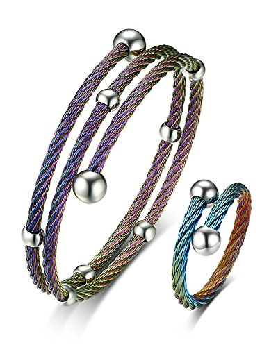 Women's Stainless Steel Multi-color Two-row Twisted Cable Wire Bracelet Ended Ball Single Ring Set ()