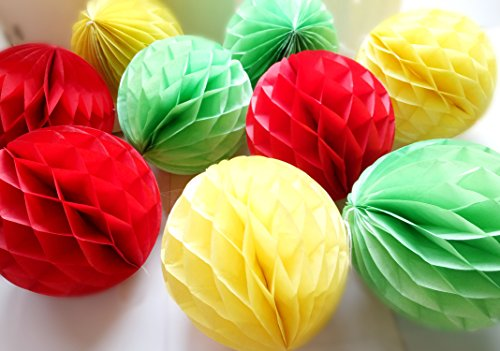 Daily Mall 9pcs 8 inch Honeycomb Balls Party Pom Poms Tissue Paper Honeycomb Balls Birthday Balls Decoration Wedding Partners Design Craft Hanging Pom-Pom Ball Home Nursery Decor (Red Yellow Green) ()