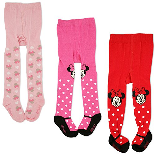 Disney Baby Girls Minnie Mouse Polka Dot Tights, Multi-Color Variety Pack (18-24 Months (3 Piece Set))]()
