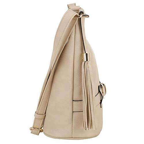 Amazon.com  DELUXITY   Crossbody Hobo Slouch Bucket Purse Bag   Functional  Multi Pocket with Tassel and Belt   Adjustable Strap   Beige  Shoes bd51edc884