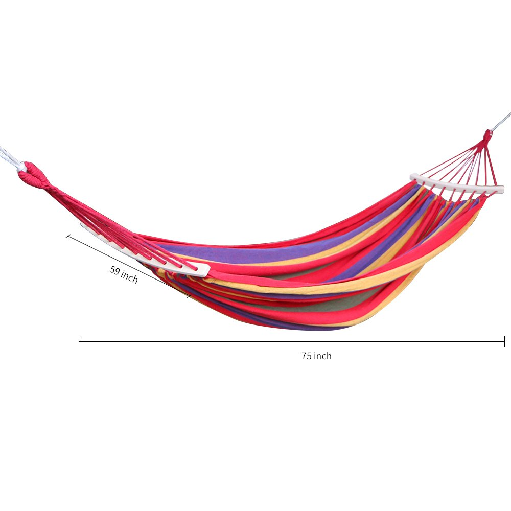 Rusee Double 2 Person Cotton Fabric Canvas Travel Hammocks 450lbs Ultralight Camping Hammock Portable Beach Swing Bed with Hardwood Spreader Bar Tree Hanging Suspended Outdoor Indoor Bed