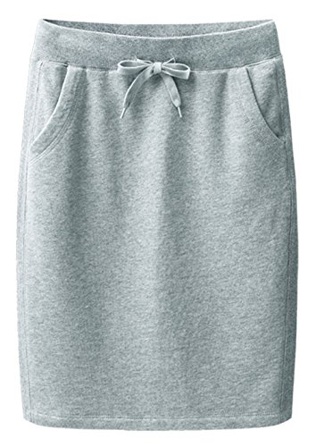 TRENDY XU Women Cotton Elastic Waist H-line Skirt Drawstring Waistband Slim Fit Skirts (L, Grey)