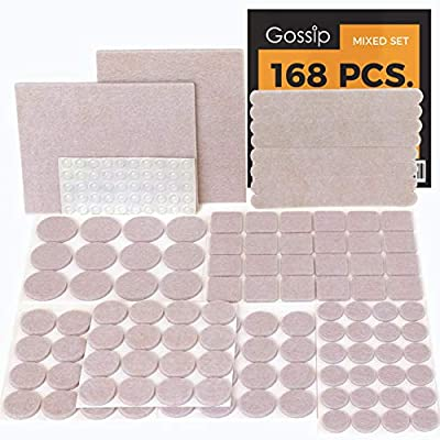 GOSSIP Felt Furniture Pads Beige - Set 168 Pcs Value Pack, Heavy Duty Adhesive Felt Pads for Furniture Feet, Assorted Sizes with Noise Dampening Clear Rubber Bumpers Protect Hardwood Flooring